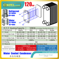 120KW PHE condenser matches with 35HP MBP or HBP compressor to build water temperature machines or heat pump water heaters