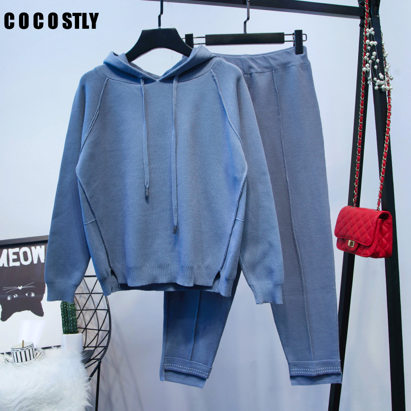 Tracksuit 2pcs Women Set Knitted Hoodies Crop Sweater Sweatshirt+ Pants Hooded 2 Pieces Sets Women Clothing Suits Female