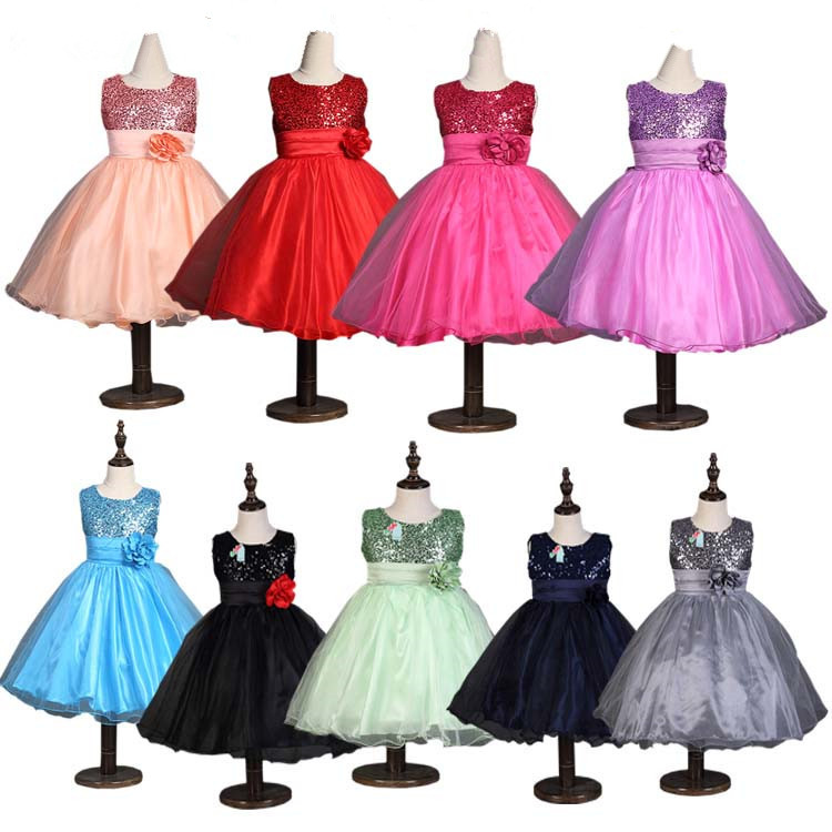 New 2016 Kids Girls Birthday Girl Dress Cute Sequin Sleeveless Vest  Princess Lace Dress 10 color Baby Dresses For Girls Vestido ac4790c95b88