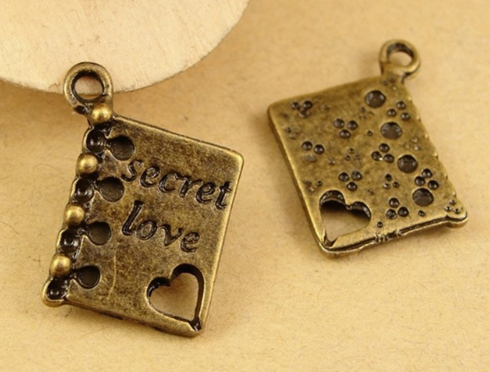 50pcs charm secret heart love book pendant 13*14MM 1.7g Antique bronze Accessories Handmade bracelet necklace Jewelry Making DIY