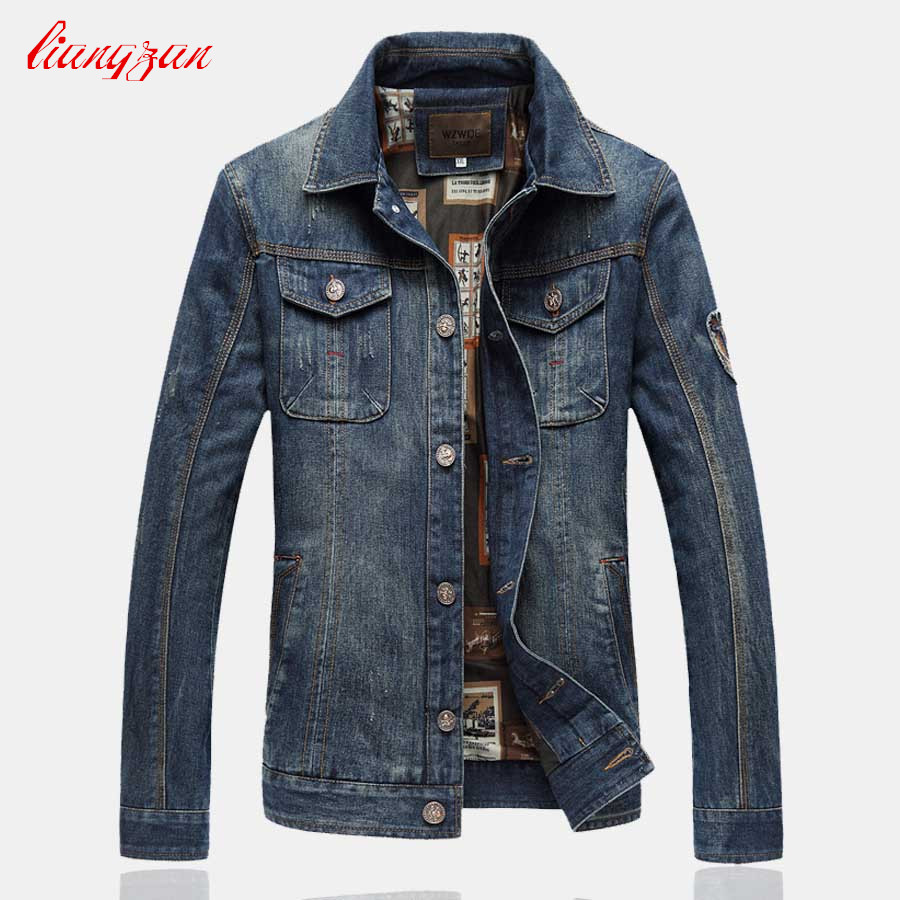 Men Denim Jacket Coats Korean Style Casual Jacket Brand Plus Size XXL 7XL Slim Fit New Denim Jean Overcoats SL K178