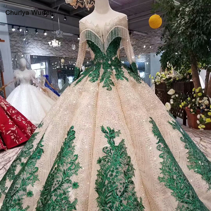 LS11252 Ball Gown Evening Dresses With Green Appliques Special O-neck Long Sleeves Dubai Prom Dresses Curve Shape Ladies Dresses