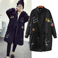 In the autumn of 2016 new women's fashion girl all-match embroidered drawstring waist labeling collar windbreaker jacket