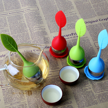 цена на Colorful Tea Strainer Silicone Tea Infusers Tea Bags Sweet Leaf Pattern Filter Teapots for Loose Leaf Herbal Spice Filter Tools