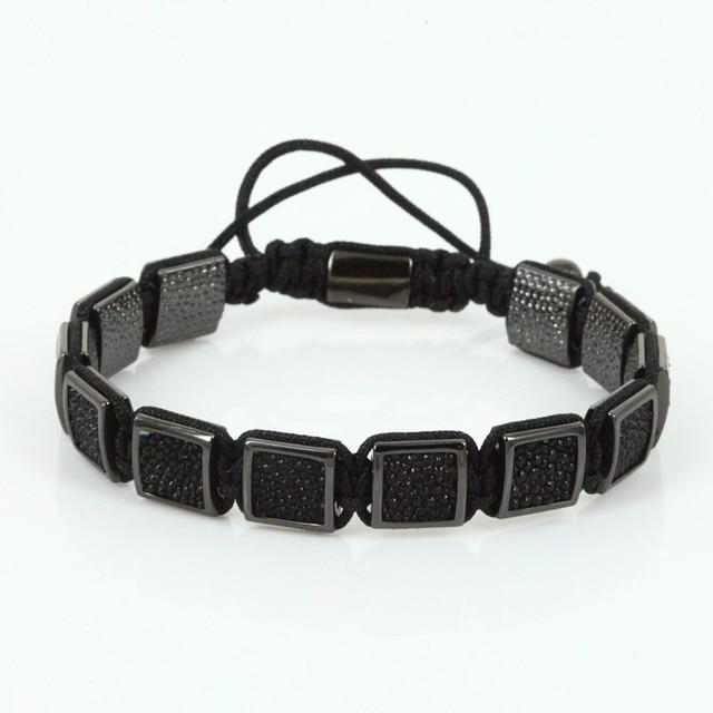 Luxury Square Leather Anil Arjandas Men Bracelets Black Pearl Fish Macrame Bracelet Bangle For
