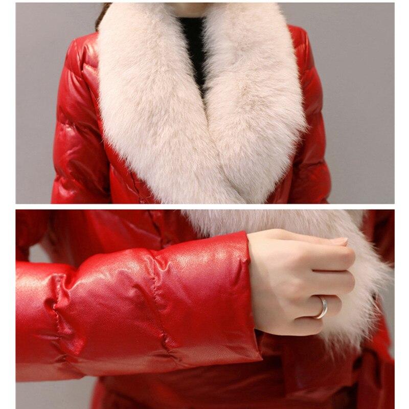 Invierno Largo Pu Delgado Chaquetas jujube Black Las Gran Cuello Abajo gray Piel Coat Fino Red Mujeres Tamaño Chaqueta La Algodón Cuero De Trench Moda pink 0ZrqP0