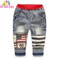 HEHello Disfrutar chicos vaqueros nueva llegada del resorte 2017 niños jeans para niños de impresión patchwork ripped denim pantalones flacos de los niños pantalones