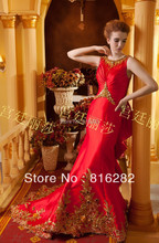 2016 trompete Mermaid Perlen Pailletten Applique Kapelle Zug Scoop Spaghetti-bügel-sleeveless Zipper Red Taft Bogen Abendkleid
