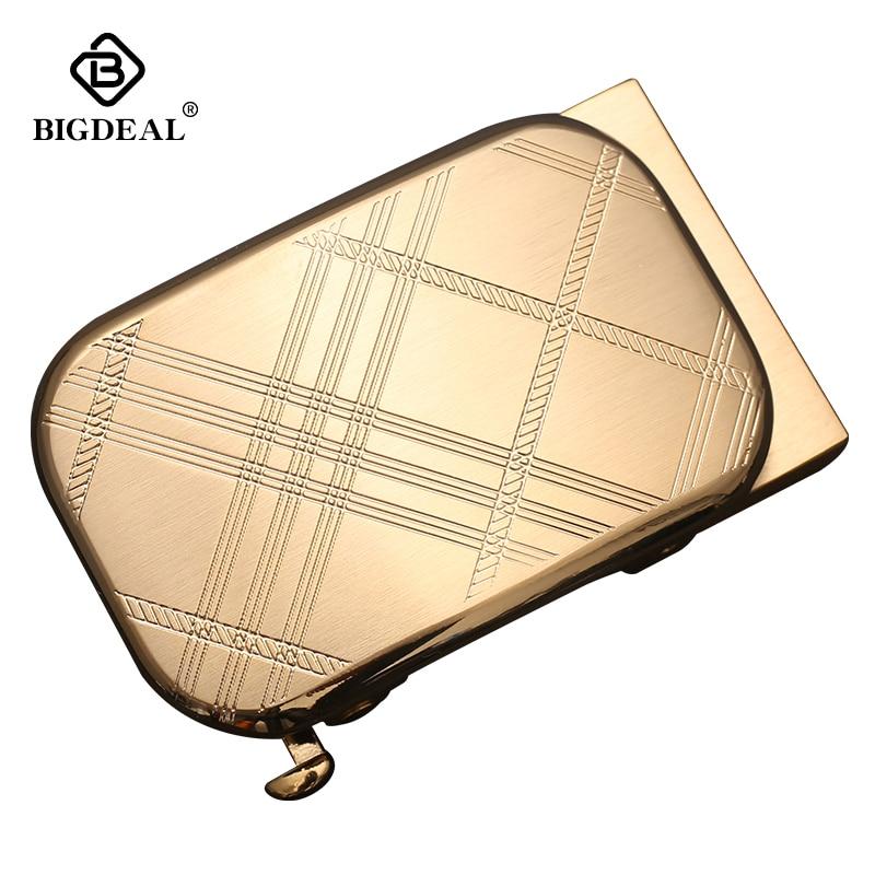 BIGDEAL Soild Brass Copper Genuine Men's Belt Head Accessories Automatic Buckle Width 3.5CM Luxury