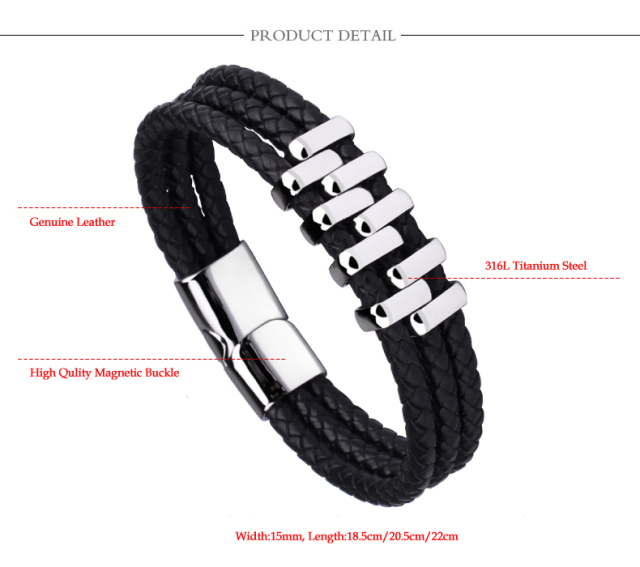 New Arrival Punk Style Black Three Layer Rope Bracelets With Stainless Steel Magnetic Clasp For Man