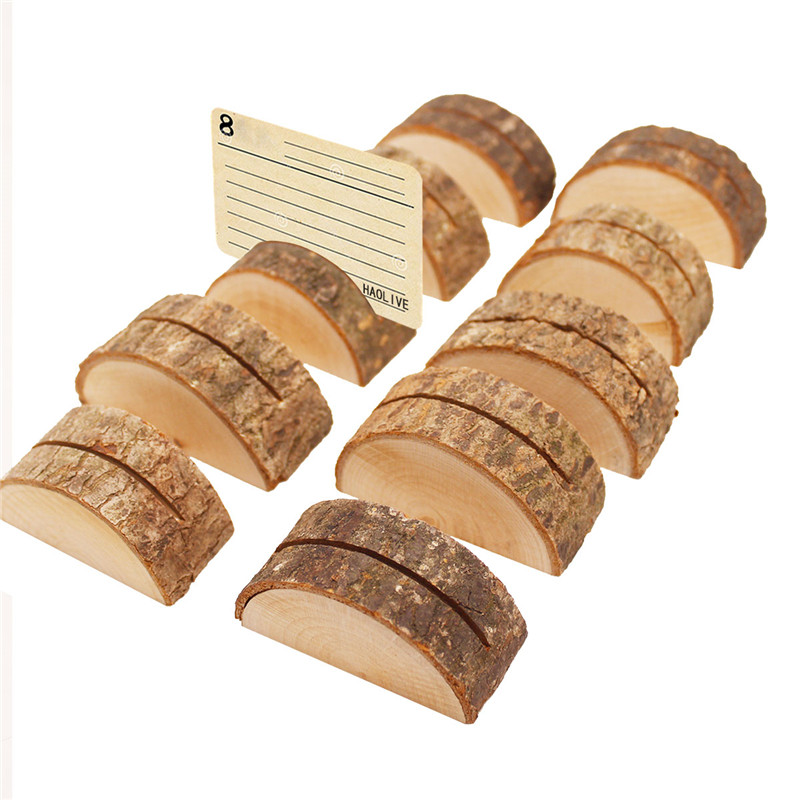 2pcs/lot Natural Semicircular Wood Card Holder Wood Stump Wedding Party Card Holder Stand Office Desk Menu Photo Clips