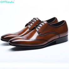 Genuine Cow Leather Square Toe Mens Brogues Dress Shoes Oxfords Black Wine Red Luxury Designer Lace-up Party Shoe