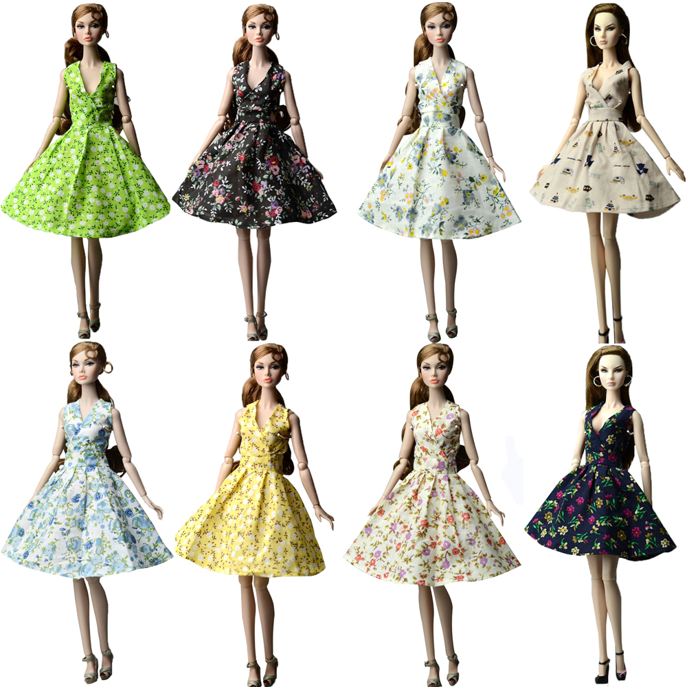 NK 2020 Mix  Doll Dress Fashion Super Model Coat Modern Outfit Daily Wear Skirt  For Barbie Doll Accessories Gift Baby Toys JJ