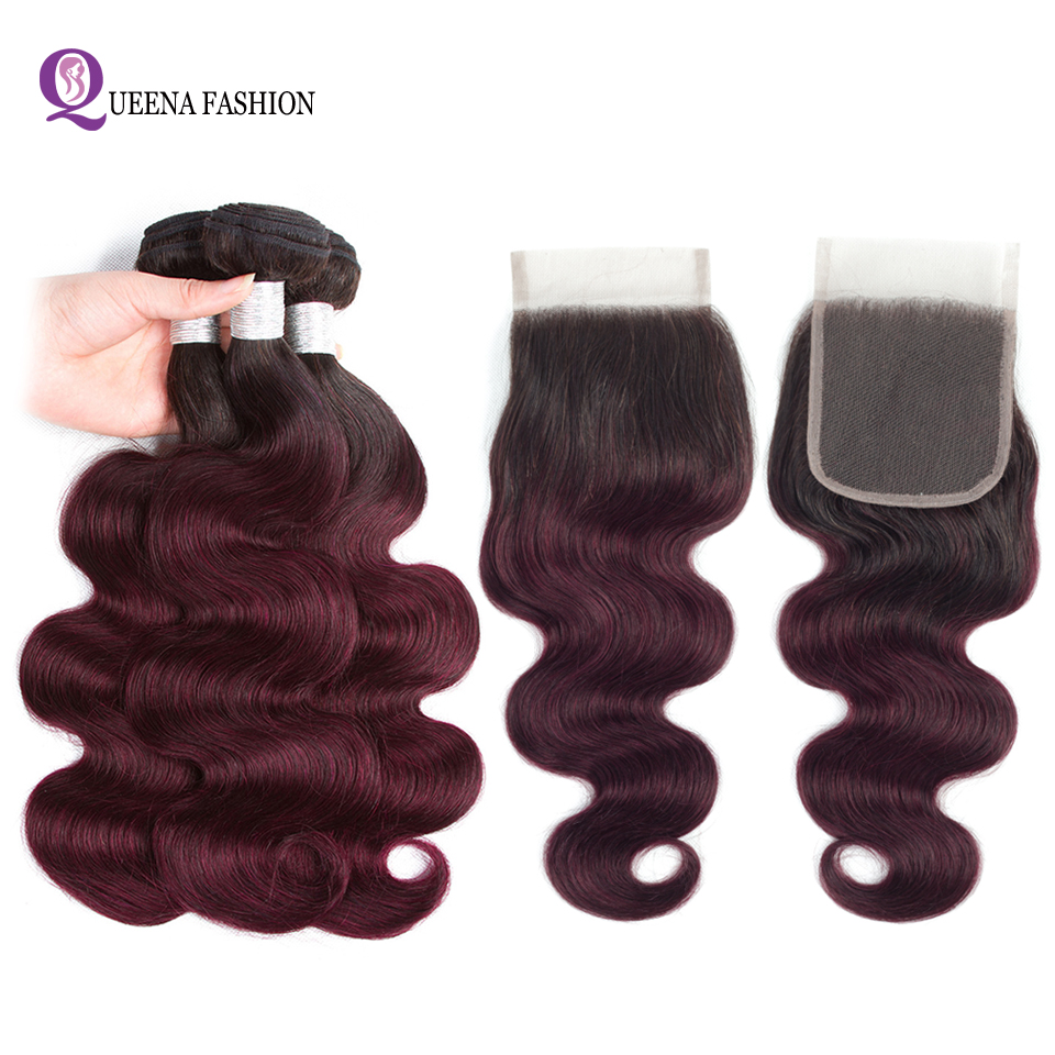 Ombre Bundles With Closure Pre-Colored Peruvian Body Wave Hair Bundles 1b 99j Two Tone Color Remy Human Hair 4X4 Lace Closure