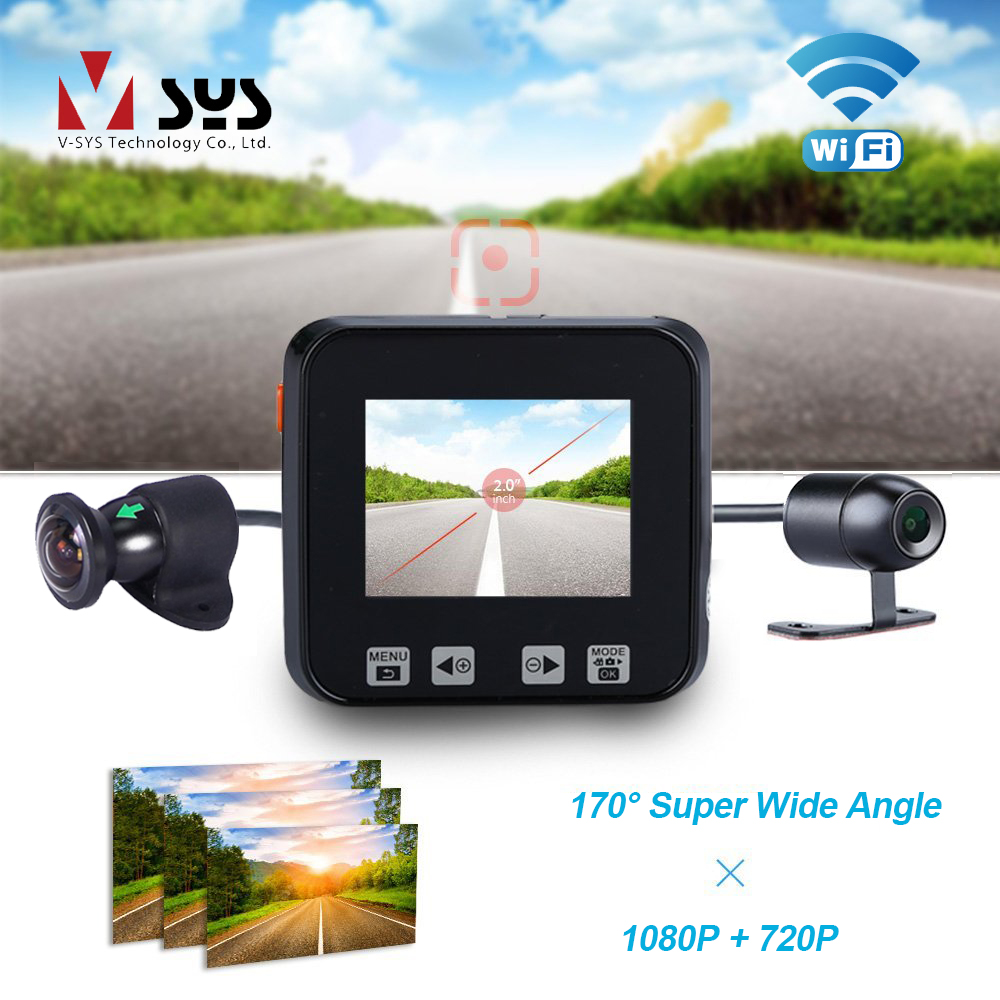 VSYS M6 WiFi 170 Degree Wide Angle Dual Motorcycle Camera Recorder Dash Cam Front 1080P+720P Rear Waterproof Lens Motorbike DVR цена