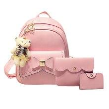 3 шт. бантом рюкзак женщины Crossbody Сумка Школьные ранцы для девочек SAC DOS Femme с сумочкой и медведь кожаный рюкзак Комплект Mochila