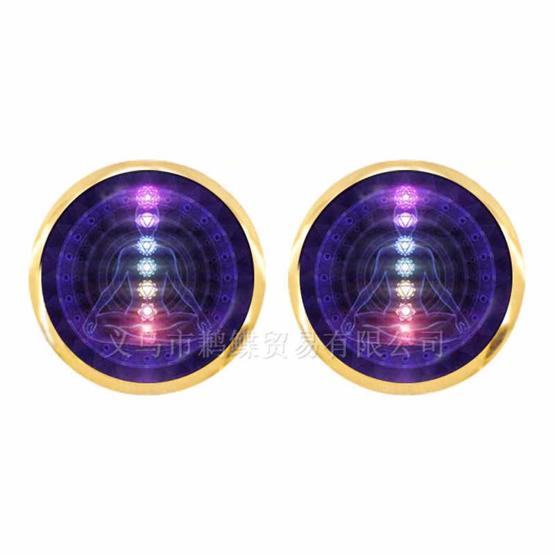 7 צ 'אקרה רייקי ריפוי עגילי בודהה מדיטציה תליון רוחני Om סמל הודי תכשיטים לנשים בנות