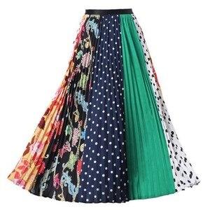 Image 4 - EU Stil Frau Gedruckt Midi Röcke Mode Weibliche Casual Plissee Röcke Sommer Röcke für Frau