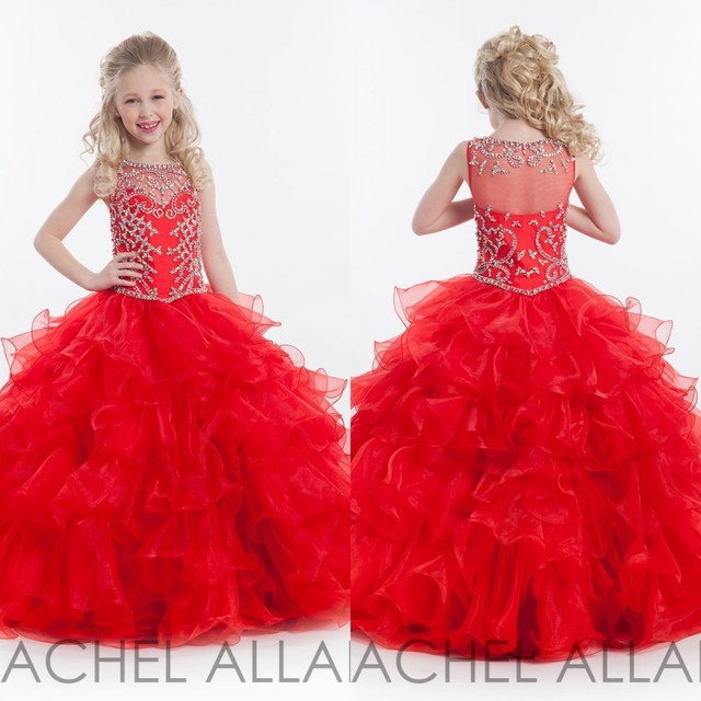 44c34bb83284 Pageant Dresses for Little Girls Ball Gown Tulle Cascading Kids Prom ...