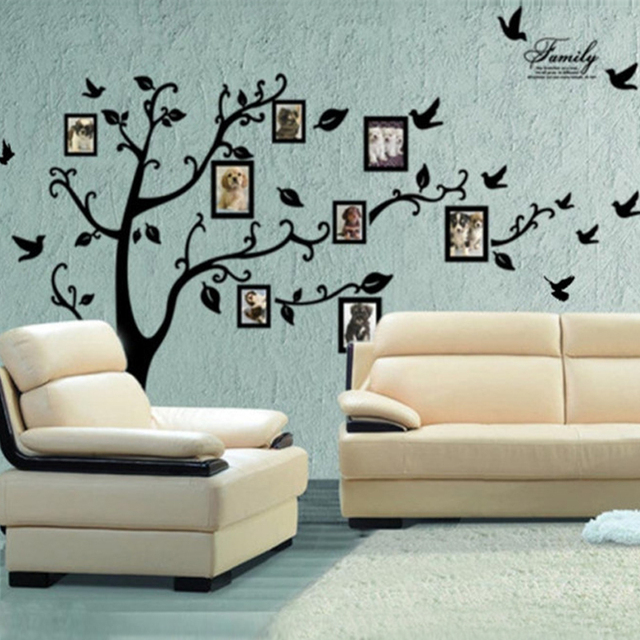 60*90cm DIY Black Photo Frame Family Tree Flying Birds Wall Sticker Wall  Decorations Decals For Living Room Bedroom