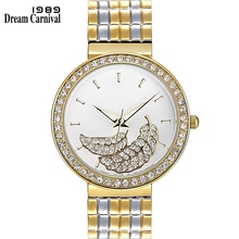 Dreamcarnival 1989 Hot Selling Women Quartz Watch Crystal Leaf Dial New Fashion Office Ladies Casual Styles Drop Shipping A8349