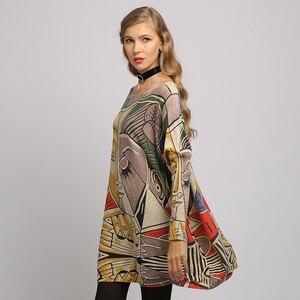 Image 2 - XIKOI, nuevo suéter para mujer, suéteres de manga larga de murciélago con estampado abstracto de gran tamaño, suéteres casuales de moda de punto con cuello redondo, ropa, suéter