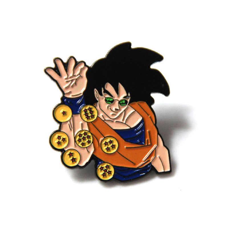 Anime Goku Dragon Ball broszka Pin torba Pins broszki biżuteria 7 gwiazdek Cosplay rysunek Cartoon szpilki i broszki