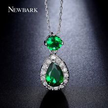 NEWBARK Water Drop Pendant Necklace Pink Green Blue Yellow White Gold Plated Cubic Zirconia Necklaces For Women Jewelry Gift