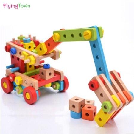 Bois magicaf écrou combinaison de blocs de construction enfant assemblage jouets démontage 3 4 5---6 puzzle ceinture outils jouet