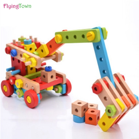 Wood magicaf nut combination of building blocks child assembling toys disassembly 3 4 5 6 puzzle belt tools toy
