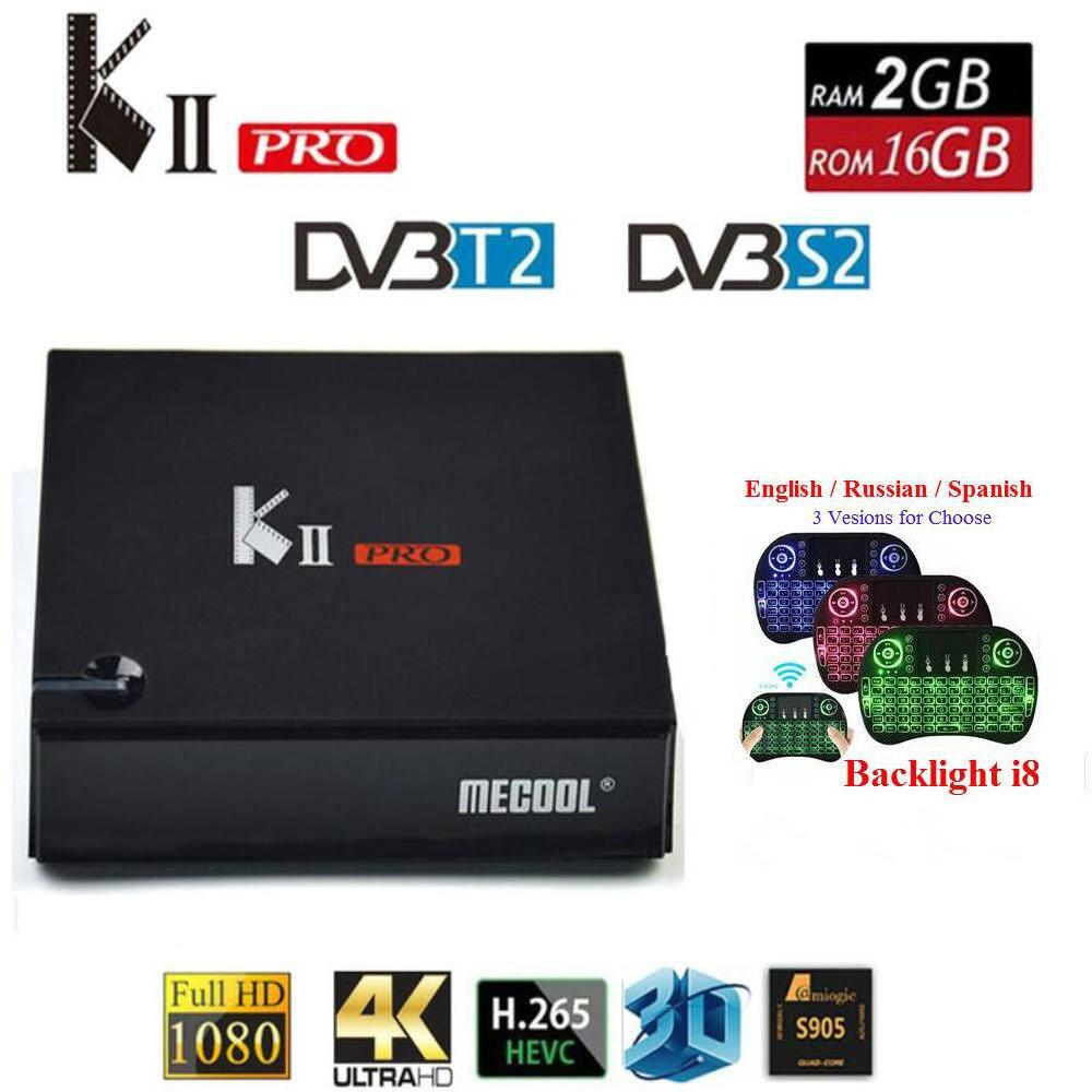 MECOOL KII PRO Android TV Box DVB-S2 DVB-T2 KII PRO Amlogic S905D Quad Core 2 GB 16 GB 64bit 4 K CCCAM NEWCAMD 2.4/5 GHz Double Wifi