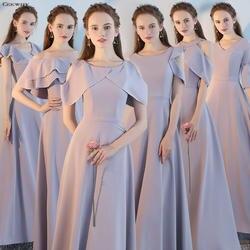 Ceewhy Свадебная вечеринка платье для подружек невесты серый длинный платья невесты 2018 невесты официальная Вечеринка платье Пром платья Robe De
