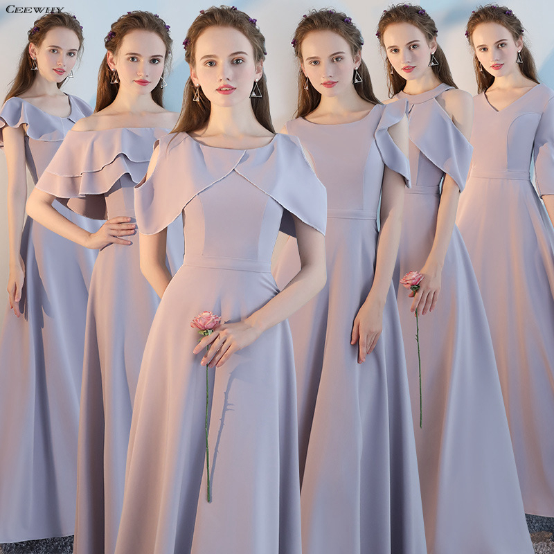 CEEWHY Wedding Party   Dress   for   Bridesmaids   Gray Long   Bridesmaid     Dresses   2018 Bride Formal Party   Dress   Prom Gowns Robe De Soiree