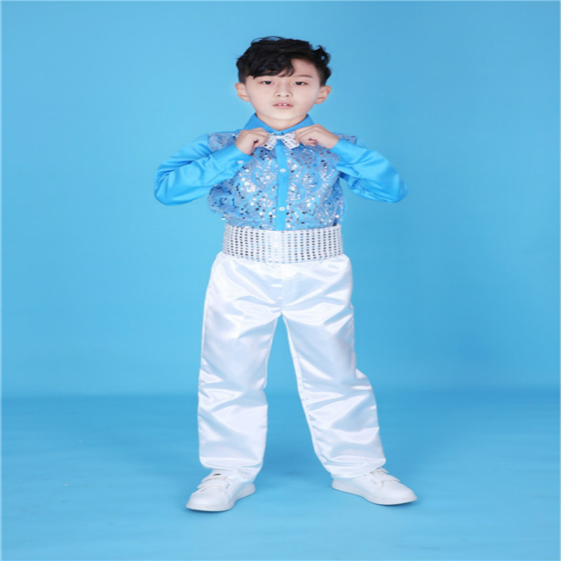 International Children's Day Fashion Bright Boys Sequine Modern Jazz HipHop Dancewear Kids Ballroom Dancing Costume Sets 100-170 fashion handpainted palm sea sailing pattern hot summer jazz hat for boys