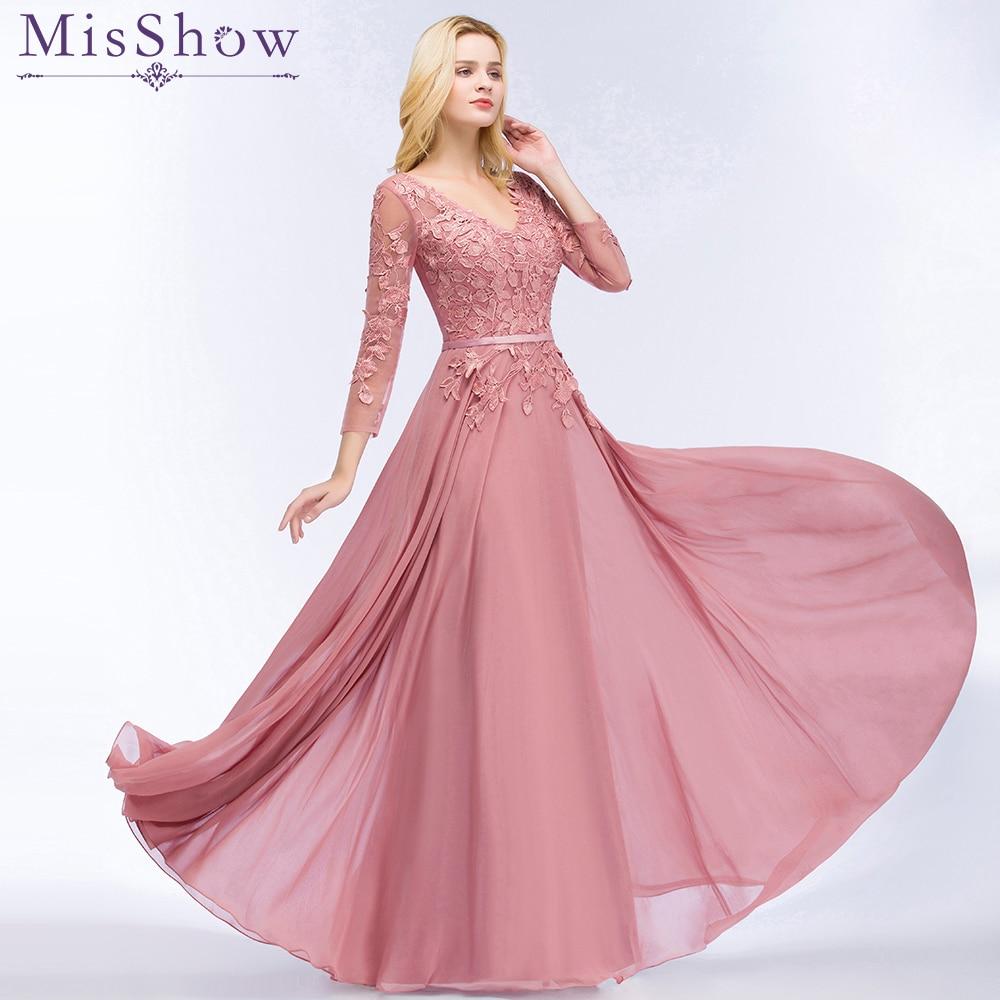 Dusty Pink Evening Dresses Chiffon Abendkleider 2019 Appliques Designs 3 4 Sleeve Prom Gowns Bride Banquet