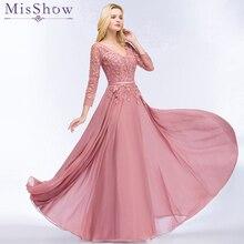 Пыльно-розовые вечерние платья из шифона Abendkleider с аппликацией, дизайнерские платья для выпускного вечера с рукавом 3/4, платья для невесты, банкета, свадебной вечеринки