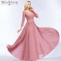 Dusty Pink Evening Dresses Chiffon Abendkleider 2018 Appliques Designs 3/4 Sleeve Prom Gowns Bride Banquet Wedding Party Dresses
