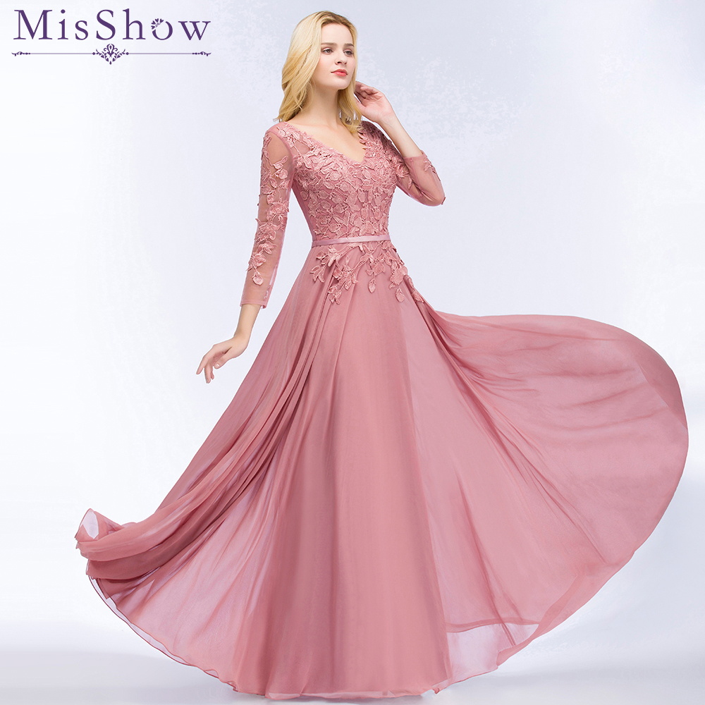 Dusty Pink   Evening     Dresses   Chiffon Abendkleider 2019 Appliques Designs 3/4 Sleeve Prom Gowns Bride Banquet Wedding Party   Dresses