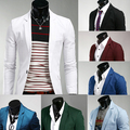 Delgado color sólido para hombre masculino otoño de abrigo chaqueta moda traje ropa de trabajo blanca