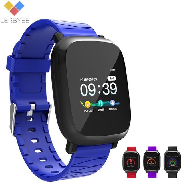 Lerbyee Smart Watch Blood Pressure Smart Band Waterproof Call Reminder Sport Men Watch Black for iPhone Huawei Christmas gifts
