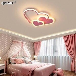 Image 1 - לב Led נברשת אור עבור ילדה חדר שינה Plafond אקריליק תאורת מנורת מודרני חדש מתקן Lampadario Luminaire Lustres