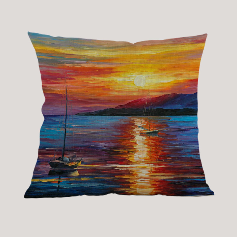 Oil print beautiful Sunset view boat sea Pillow case Cushion Cover Home sofa hotel club coffee shop house Decoration for gift