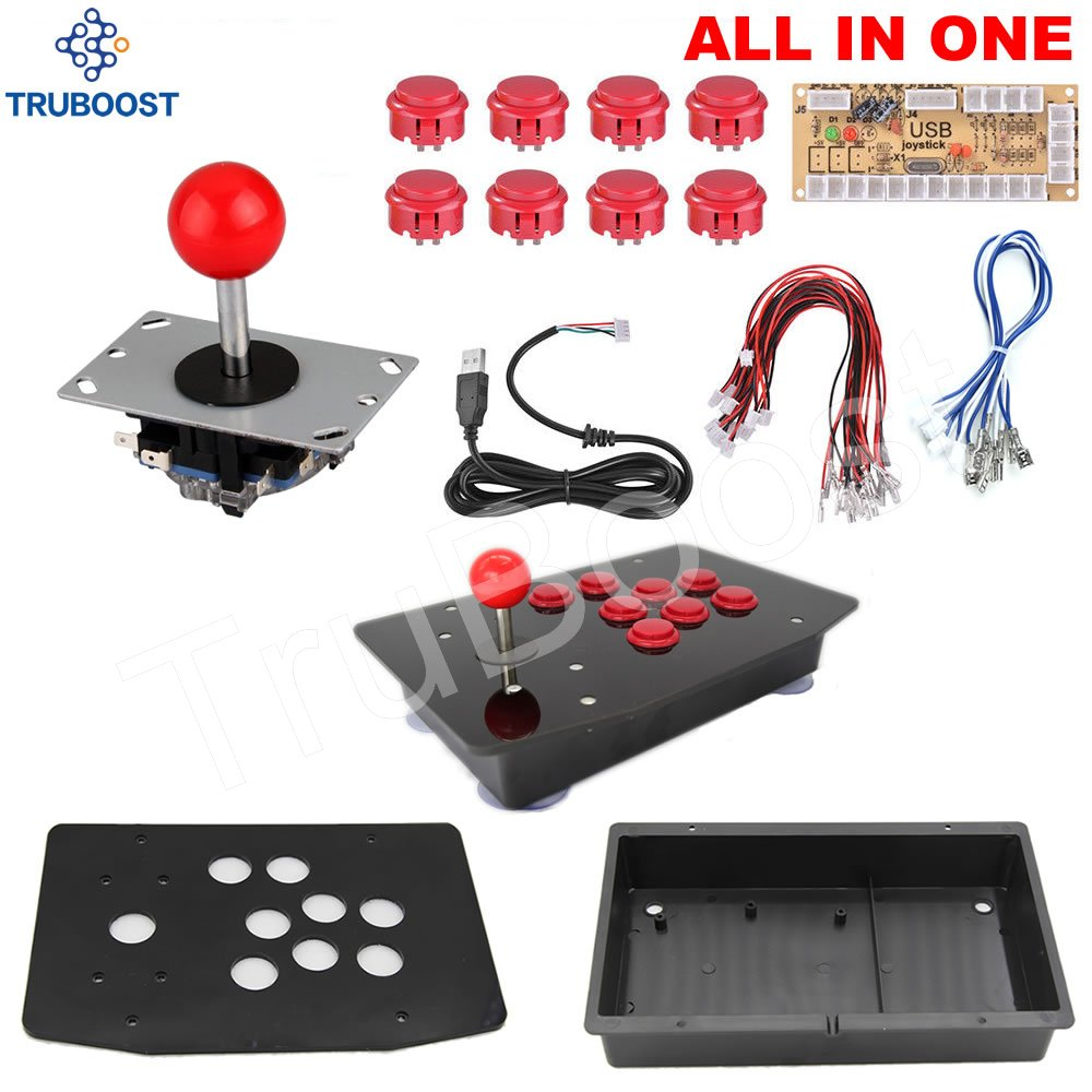 2Pin Cable PC Arcade Joystick Acrylic Panel Case USB Cable Encoder Board Push Buttons 6 Colors