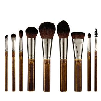 Luxury Vintage 9Pcs Make up Brushes Set Natural Wood Powder Blush Bronzer Blender Eyeshadow Makeup Tool Kit with Bag 2