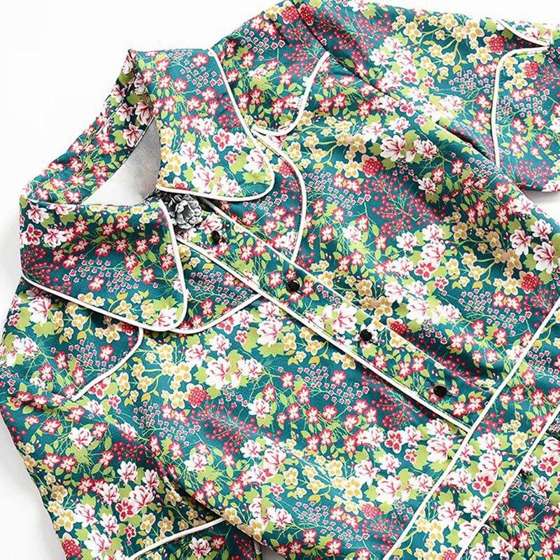 Belle Pan Haute Mi Petite Été veau Femmes Imprimer Printemps Fleur 2019 Manches Élégant Col Courtes Robe À Qualité Peter De TPgHg0