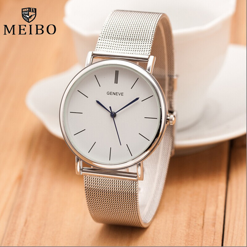 MEIBO Brand Women's Watches Silver Casual Uninsex Quartz Men's Watch Ladies Stainless Steel Dress Female Watch Relojes Hombre