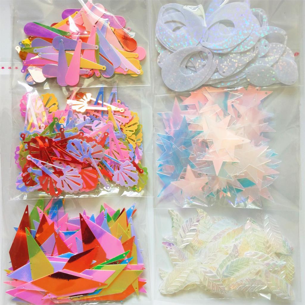 Star Leaves Diamond Oval PVC Sequins Flat Paillette Garment Earring Accessories Shining AB Spangles Mix Colors 100pcs/lot