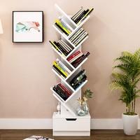 Modern 5 9 Tier Office Bookcase Wood Bookshelf Tree Storage Shelf Floor Standing Bookcase Organizer for Living Room