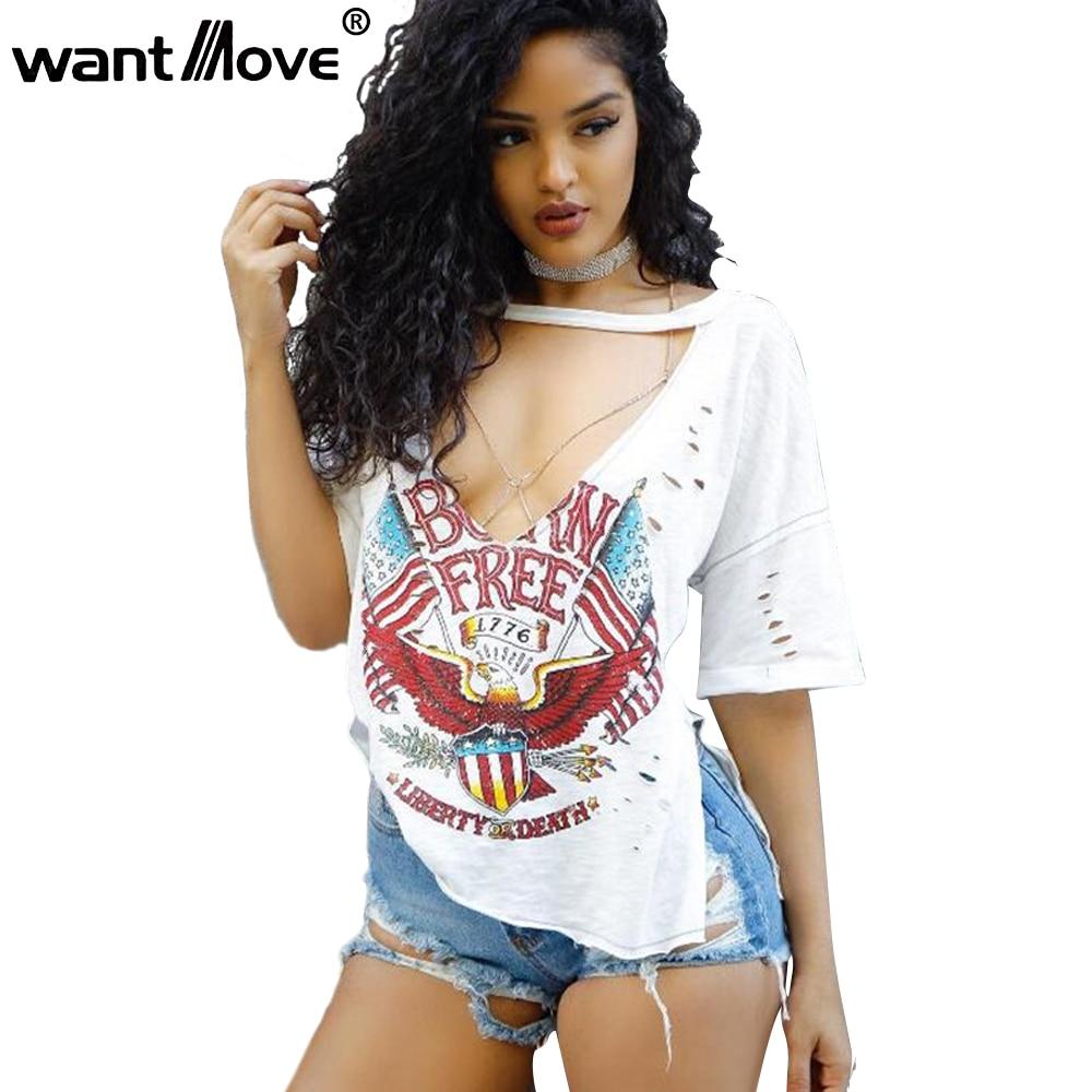 Wantmove sexy holes v-neck t shirt women 2018 summer casual short sleeve ripped shirt USA eagle print sides split tops XD765 como rasgar uma camiseta feminina