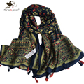 [Marte&Joven] Retro Floral Style Casual Oversized 180*105cm Long Scarves and Shawls For Women